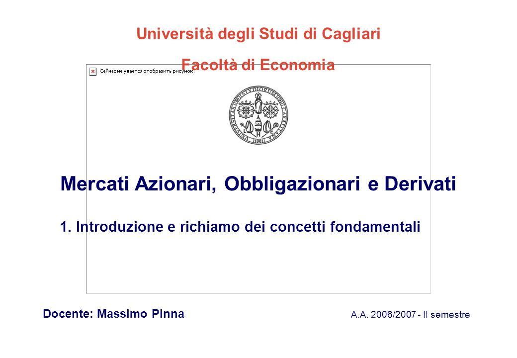 Mercati Azionari, Obbligazionari e Derivati A.A. 2006/2007 - II semestre Docente: Massimo Pinna Università degli Studi di Cagliari Facoltà di Economia