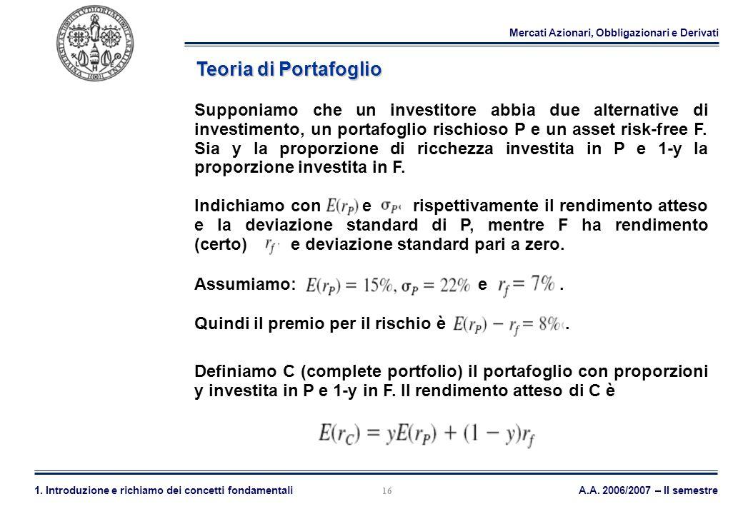 Mercati Azionari, Obbligazionari e Derivati A.A. 2006/2007 – II semestre1. Introduzione e richiamo dei concetti fondamentali 16 Teoria di Portafoglio