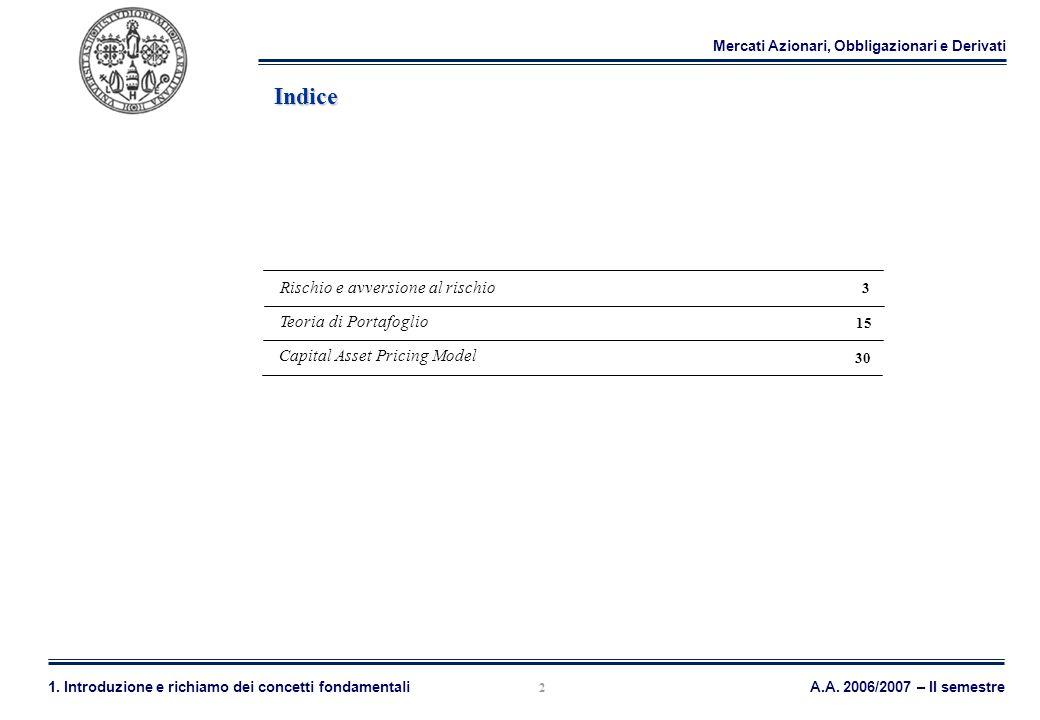 Mercati Azionari, Obbligazionari e Derivati A.A. 2006/2007 – II semestre1. Introduzione e richiamo dei concetti fondamentali 2 Indice Teoria di Portaf