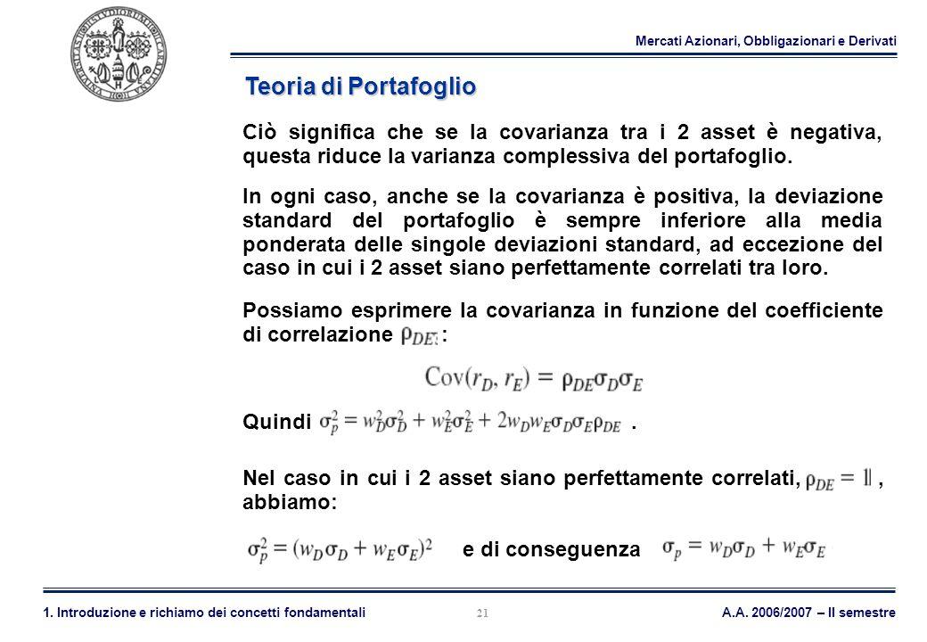Mercati Azionari, Obbligazionari e Derivati A.A. 2006/2007 – II semestre1. Introduzione e richiamo dei concetti fondamentali 21 Teoria di Portafoglio