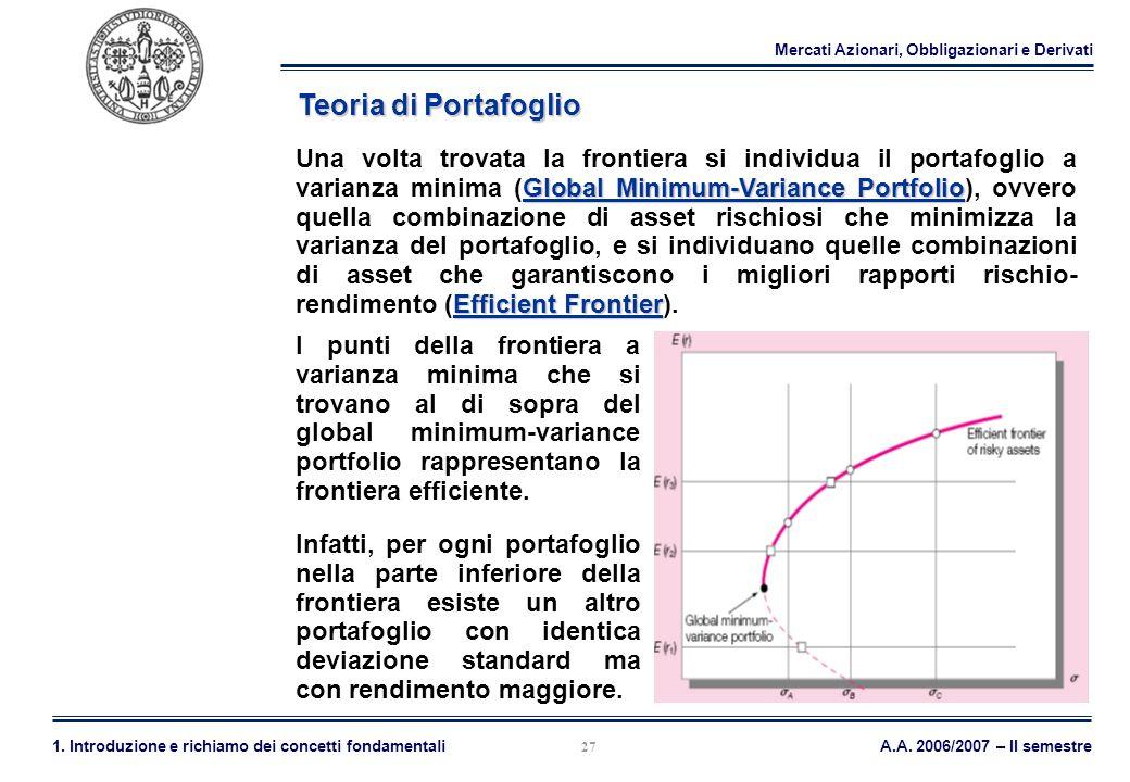 Mercati Azionari, Obbligazionari e Derivati A.A. 2006/2007 – II semestre1. Introduzione e richiamo dei concetti fondamentali 27 Teoria di Portafoglio