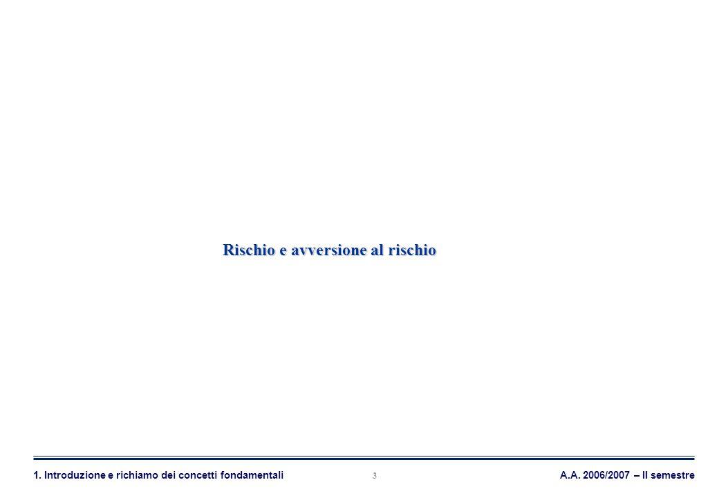 Mercati Azionari, Obbligazionari e Derivati A.A. 2006/2007 – II semestre1. Introduzione e richiamo dei concetti fondamentali 3 Rischio e avversione al