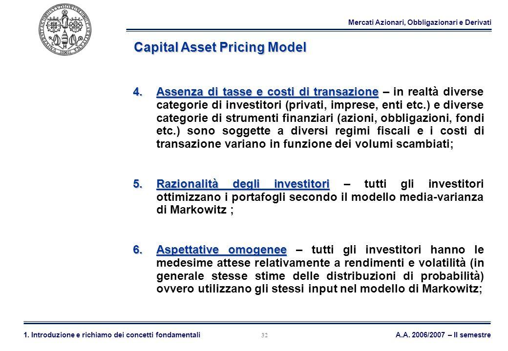 Mercati Azionari, Obbligazionari e Derivati A.A. 2006/2007 – II semestre1. Introduzione e richiamo dei concetti fondamentali 32 Capital Asset Pricing