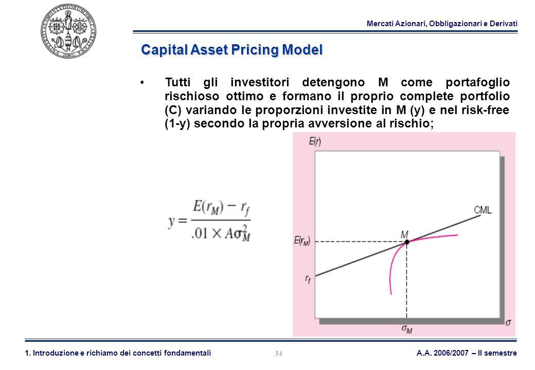 Mercati Azionari, Obbligazionari e Derivati A.A. 2006/2007 – II semestre1. Introduzione e richiamo dei concetti fondamentali 34 Capital Asset Pricing