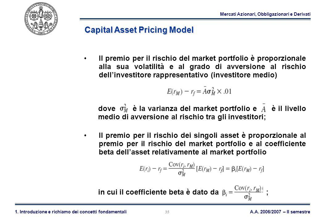 Mercati Azionari, Obbligazionari e Derivati A.A. 2006/2007 – II semestre1. Introduzione e richiamo dei concetti fondamentali 35 Capital Asset Pricing