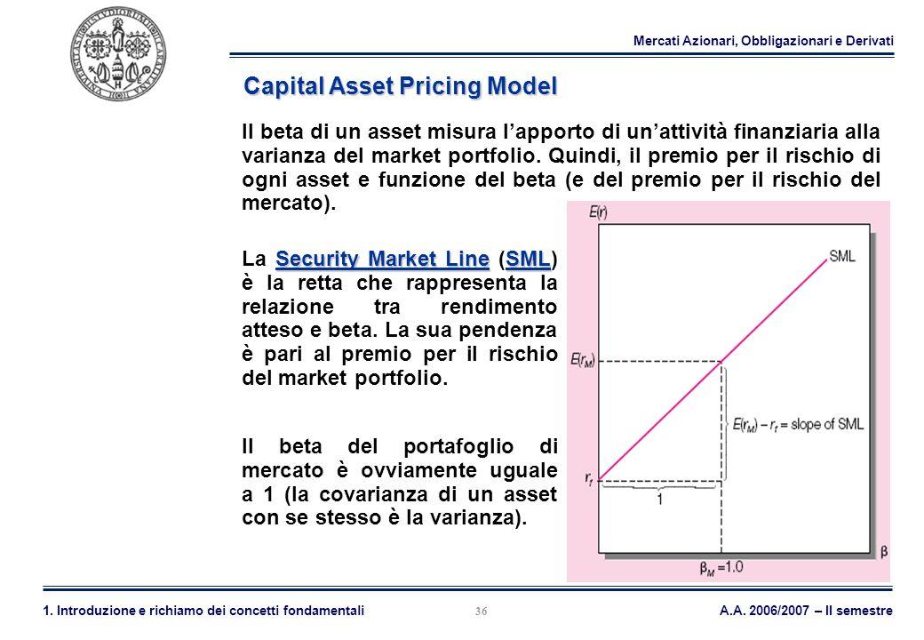 Mercati Azionari, Obbligazionari e Derivati A.A. 2006/2007 – II semestre1. Introduzione e richiamo dei concetti fondamentali 36 Capital Asset Pricing
