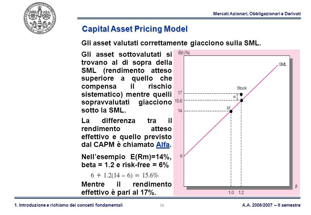 Mercati Azionari, Obbligazionari e Derivati A.A. 2006/2007 – II semestre1. Introduzione e richiamo dei concetti fondamentali 38 Capital Asset Pricing