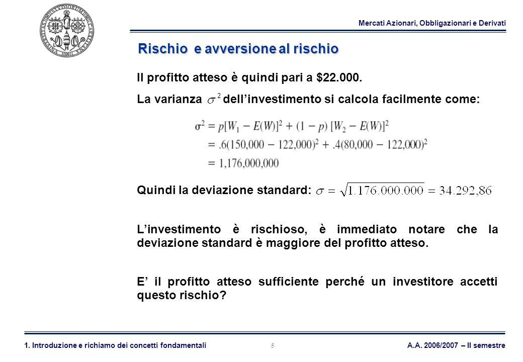 Mercati Azionari, Obbligazionari e Derivati A.A. 2006/2007 – II semestre1. Introduzione e richiamo dei concetti fondamentali 5 Rischio e avversione al