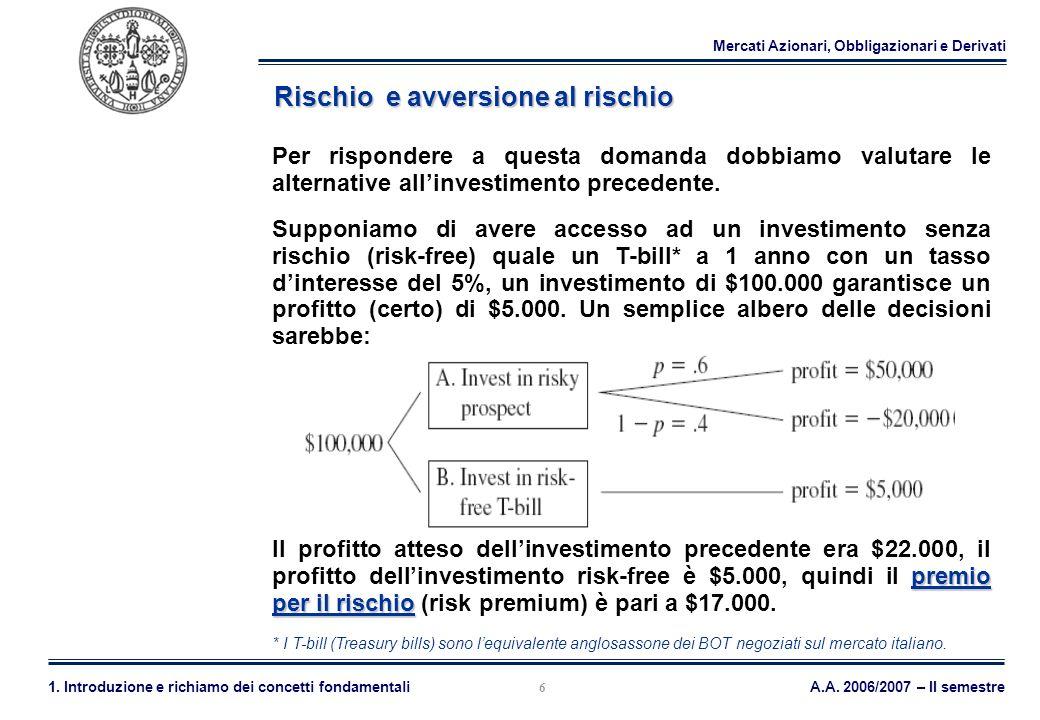 Mercati Azionari, Obbligazionari e Derivati A.A. 2006/2007 – II semestre1. Introduzione e richiamo dei concetti fondamentali 6 Rischio e avversione al