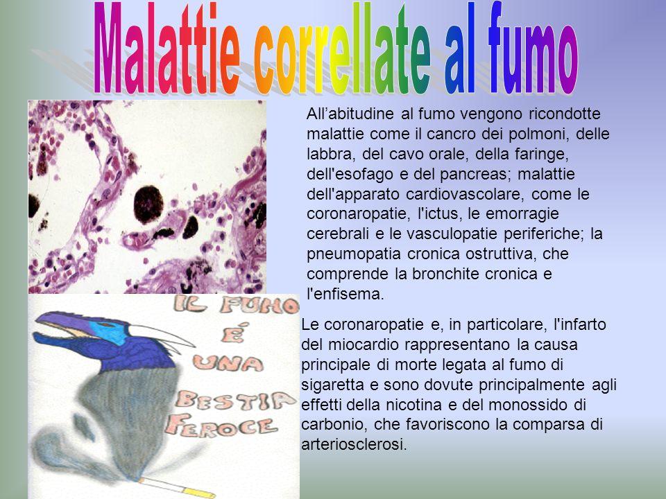 Allabitudine al fumo vengono ricondotte malattie come il cancro dei polmoni, delle labbra, del cavo orale, della faringe, dell'esofago e del pancreas;