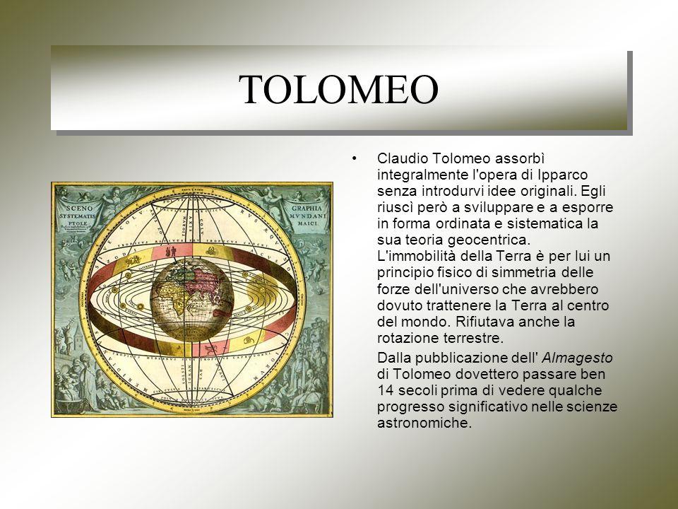 TOLOMEO Claudio Tolomeo assorbì integralmente l opera di Ipparco senza introdurvi idee originali.