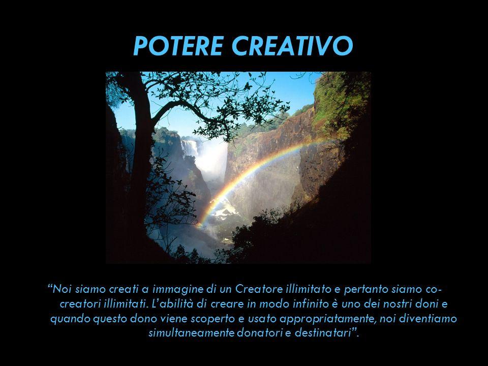 POTERE CREATIVO Noi siamo creati a immagine di un Creatore illimitato e pertanto siamo co- creatori illimitati. Labilità di creare in modo infinito è