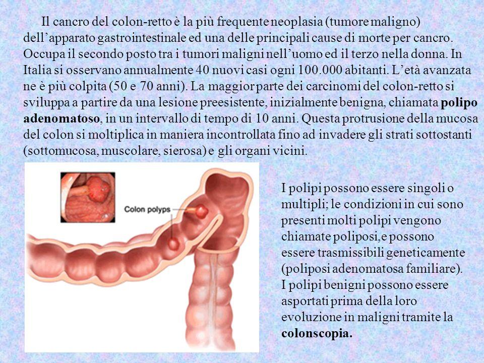 I polipi possono essere singoli o multipli; le condizioni in cui sono presenti molti polipi vengono chiamate poliposi,e possono essere trasmissibili g