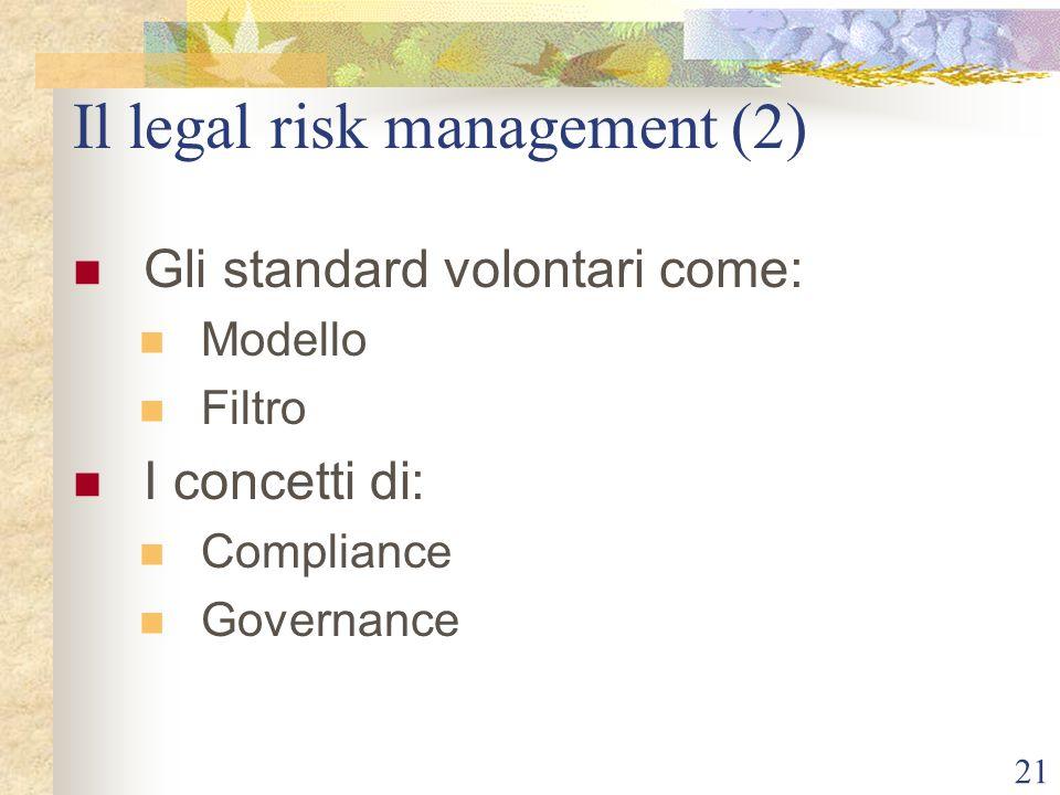 21 Il legal risk management (2) Gli standard volontari come: Modello Filtro I concetti di: Compliance Governance
