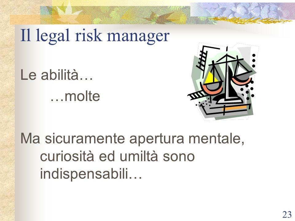 23 Il legal risk manager Le abilità… …molte Ma sicuramente apertura mentale, curiosità ed umiltà sono indispensabili…