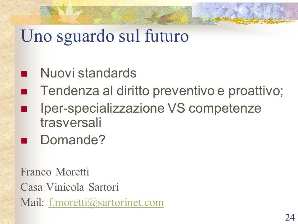 24 Uno sguardo sul futuro Nuovi standards Tendenza al diritto preventivo e proattivo; Iper-specializzazione VS competenze trasversali Domande.