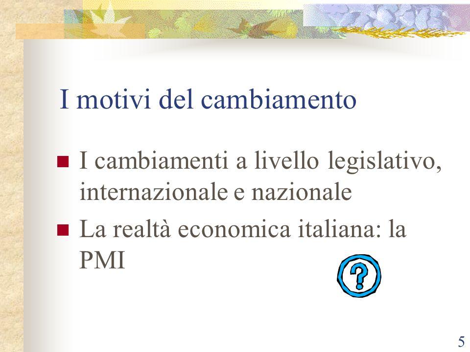 5 I motivi del cambiamento I cambiamenti a livello legislativo, internazionale e nazionale La realtà economica italiana: la PMI