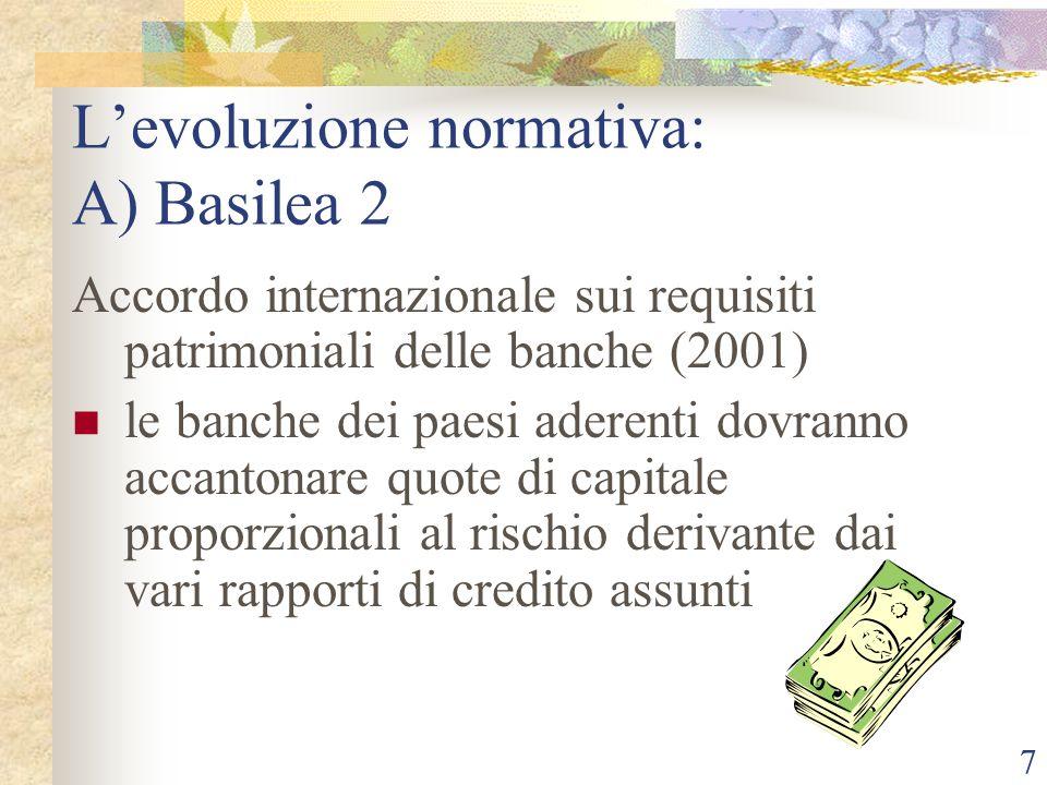 7 Levoluzione normativa: A) Basilea 2 Accordo internazionale sui requisiti patrimoniali delle banche (2001) le banche dei paesi aderenti dovranno accantonare quote di capitale proporzionali al rischio derivante dai vari rapporti di credito assunti