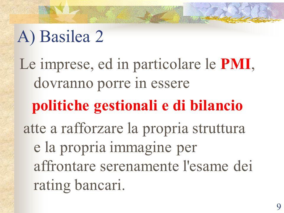 9 A) Basilea 2 Le imprese, ed in particolare le PMI, dovranno porre in essere politiche gestionali e di bilancio atte a rafforzare la propria struttura e la propria immagine per affrontare serenamente l esame dei rating bancari.