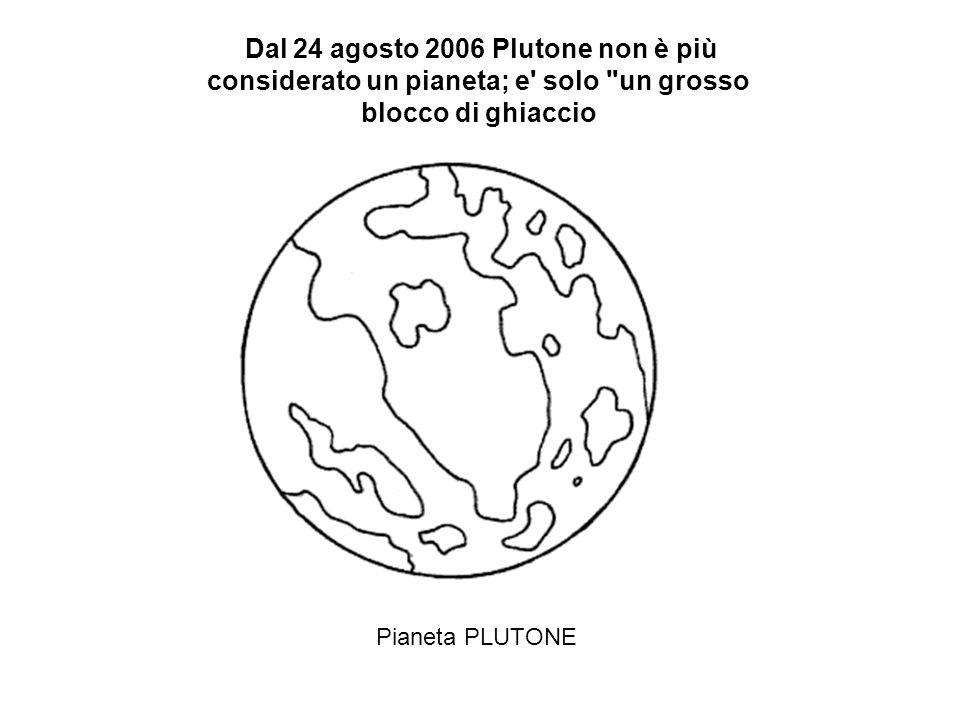 Pianeta PLUTONE Dal 24 agosto 2006 Plutone non è più considerato un pianeta; e solo un grosso blocco di ghiaccio