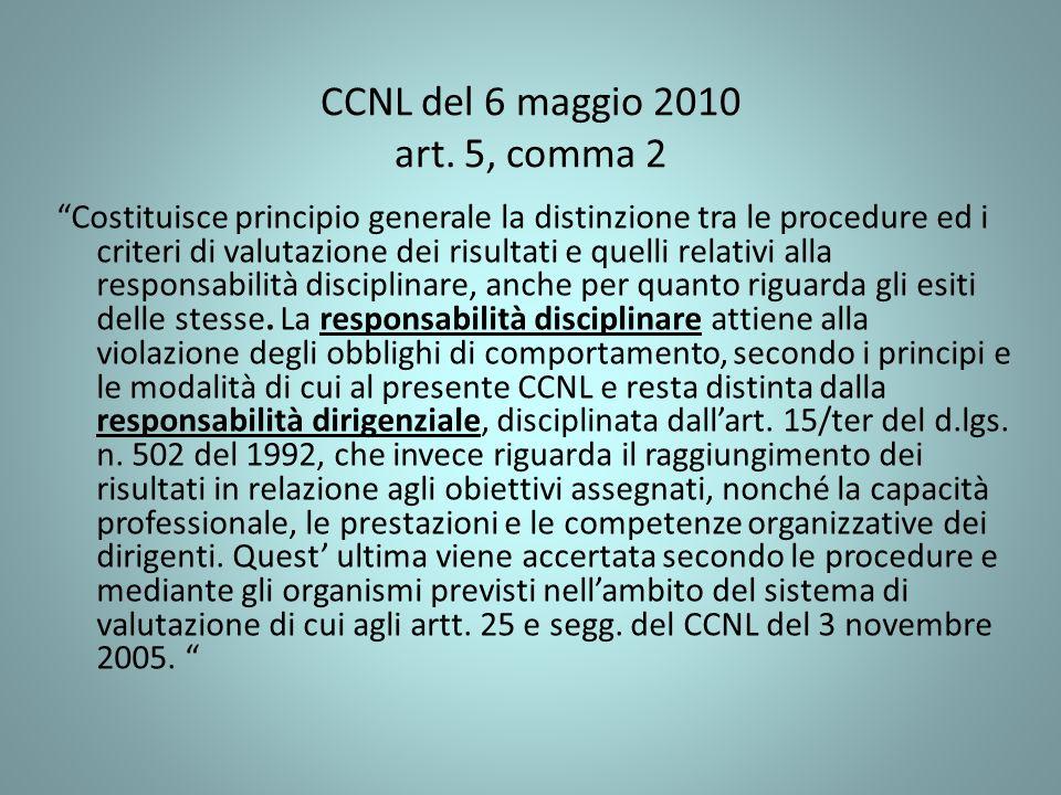 CCNL del 6 maggio 2010 art. 5, comma 2 Costituisce principio generale la distinzione tra le procedure ed i criteri di valutazione dei risultati e quel