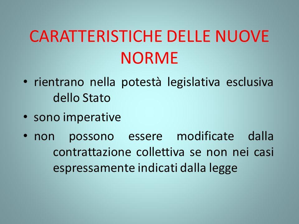 CARATTERISTICHE DELLE NUOVE NORME rientrano nella potestà legislativa esclusiva dello Stato sono imperative non possono essere modificate dalla contra