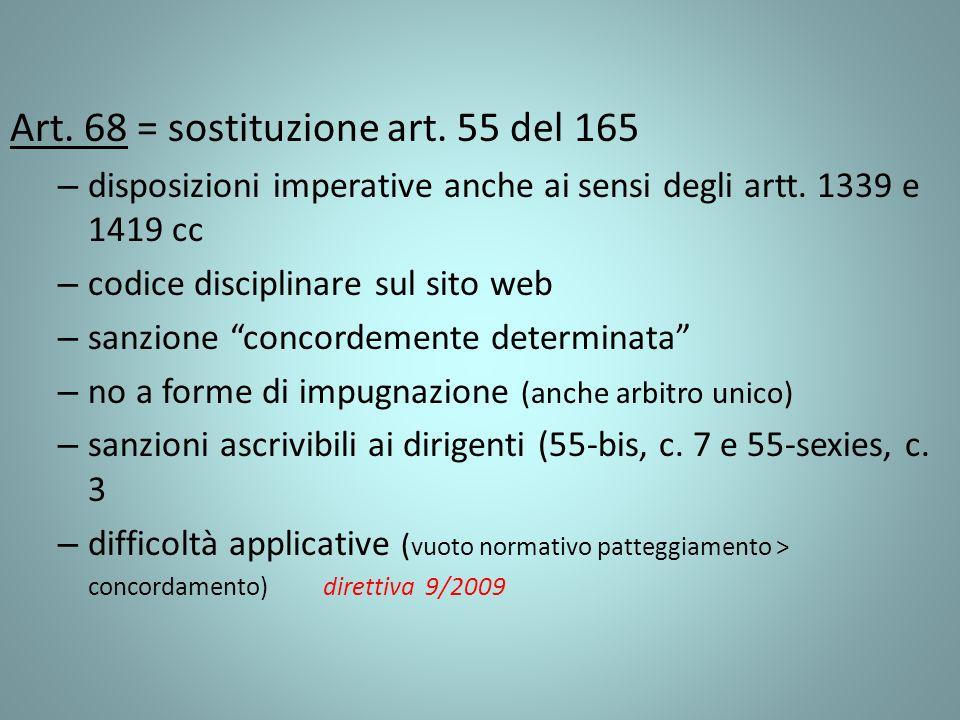 Art. 68 = sostituzione art. 55 del 165 – disposizioni imperative anche ai sensi degli artt. 1339 e 1419 cc – codice disciplinare sul sito web – sanzio