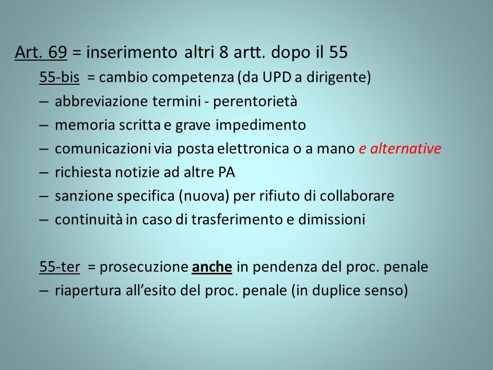 Art. 69 = inserimento altri 8 artt. dopo il 55 55-bis = cambio competenza (da UPD a dirigente) – abbreviazione termini - perentorietà – memoria scritt