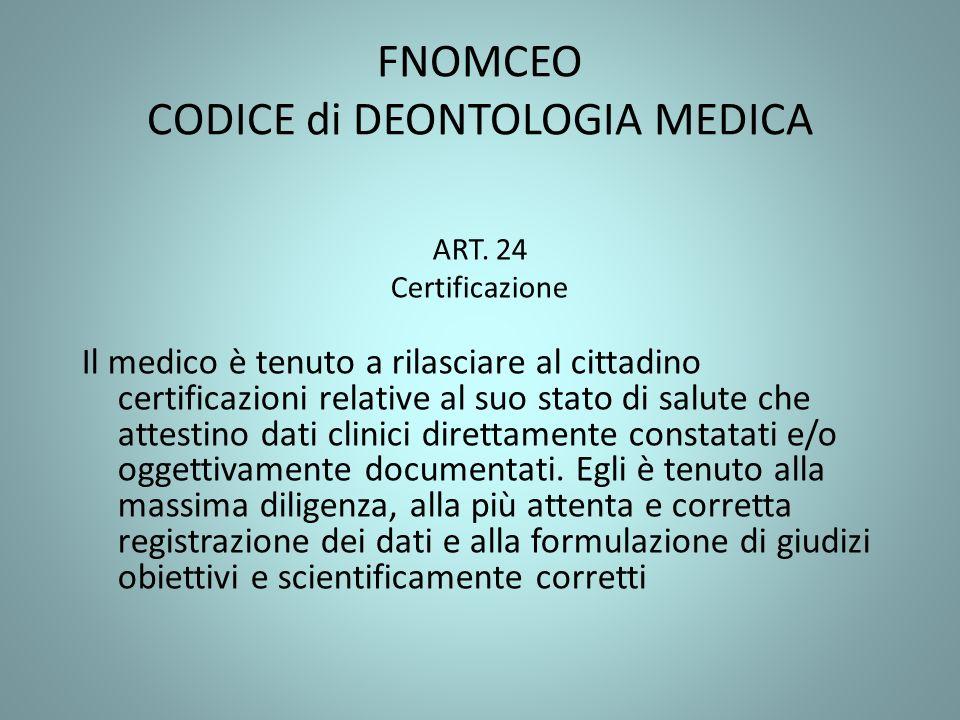 FNOMCEO CODICE di DEONTOLOGIA MEDICA ART. 24 Certificazione Il medico è tenuto a rilasciare al cittadino certificazioni relative al suo stato di salut