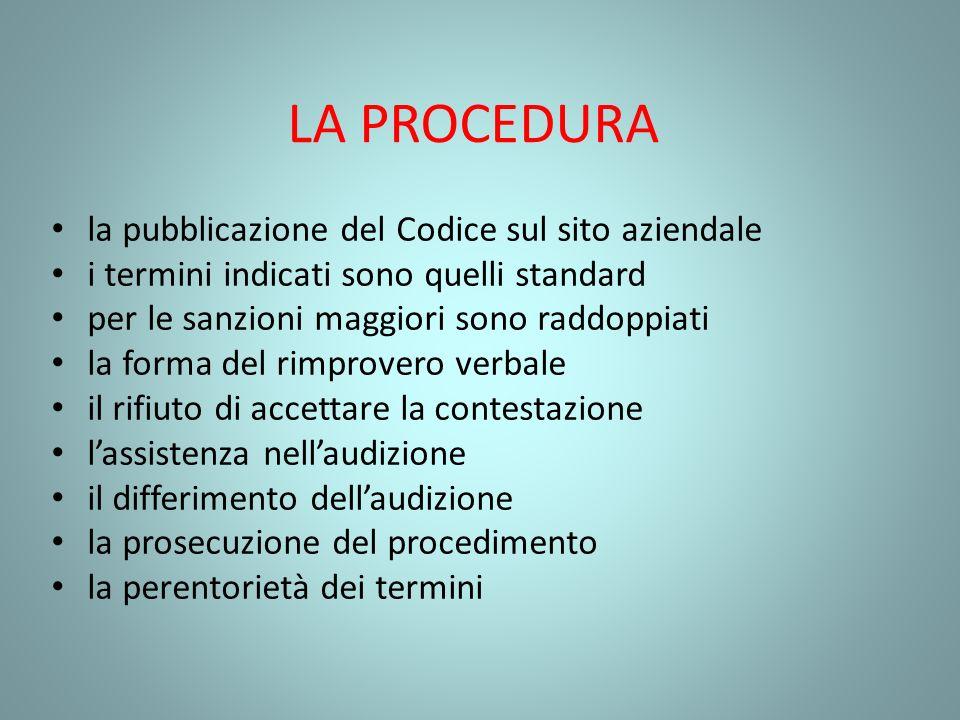 LA PROCEDURA la pubblicazione del Codice sul sito aziendale i termini indicati sono quelli standard per le sanzioni maggiori sono raddoppiati la forma