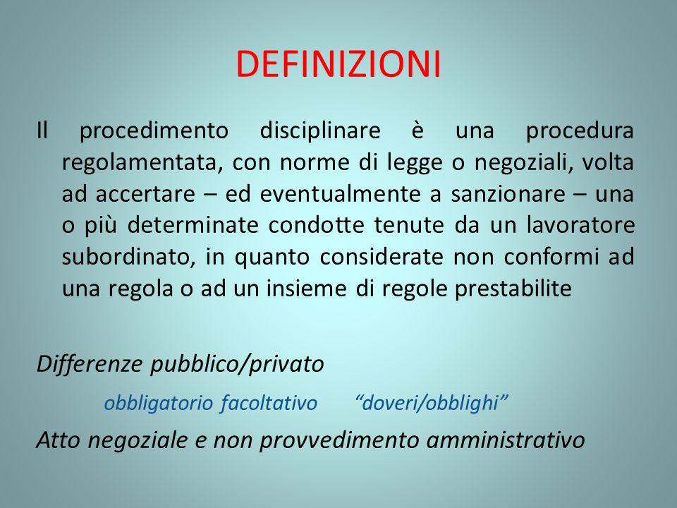 DEFINIZIONI Il procedimento disciplinare è una procedura regolamentata, con norme di legge o negoziali, volta ad accertare – ed eventualmente a sanzio
