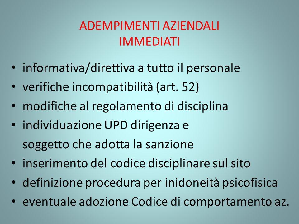 ADEMPIMENTI AZIENDALI IMMEDIATI informativa/direttiva a tutto il personale verifiche incompatibilità (art. 52) modifiche al regolamento di disciplina