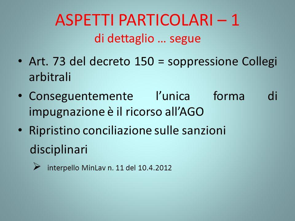 ASPETTI PARTICOLARI – 1 di dettaglio … segue Art. 73 del decreto 150 = soppressione Collegi arbitrali Conseguentemente lunica forma di impugnazione è