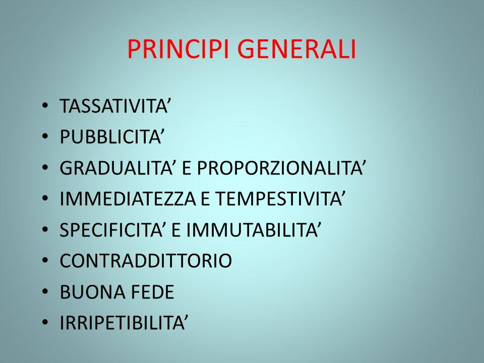 PRINCIPI GENERALI TASSATIVITA PUBBLICITA GRADUALITA E PROPORZIONALITA IMMEDIATEZZA E TEMPESTIVITA SPECIFICITA E IMMUTABILITA CONTRADDITTORIO BUONA FED