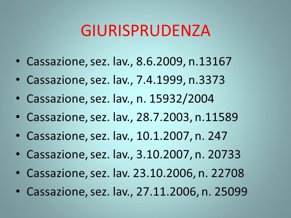 GIURISPRUDENZA Cassazione, sez. lav., 8.6.2009, n.13167 Cassazione, sez. lav., 7.4.1999, n.3373 Cassazione, sez. lav., n. 15932/2004 Cassazione, sez.