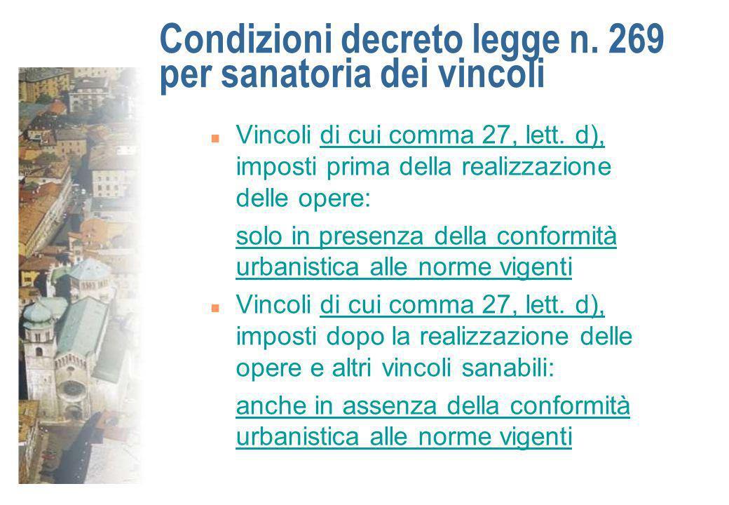 Condizioni decreto legge n. 269 per sanatoria dei vincoli n Vincoli di cui comma 27, lett. d), imposti prima della realizzazione delle opere: solo in