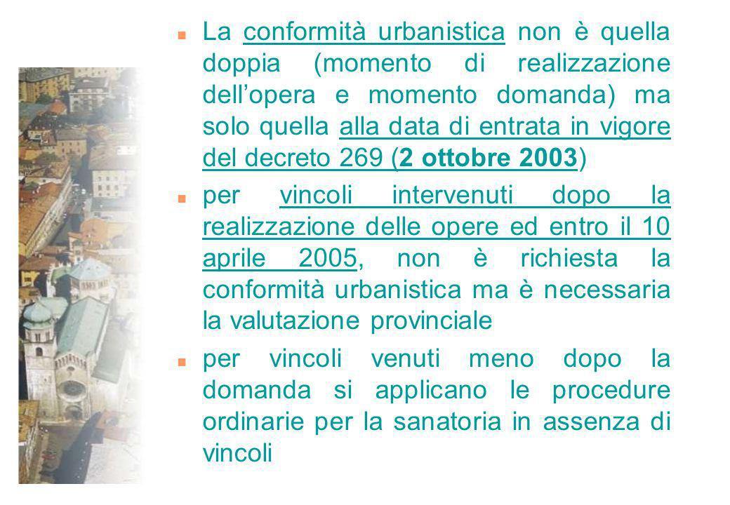 n La conformità urbanistica non è quella doppia (momento di realizzazione dellopera e momento domanda) ma solo quella alla data di entrata in vigore d
