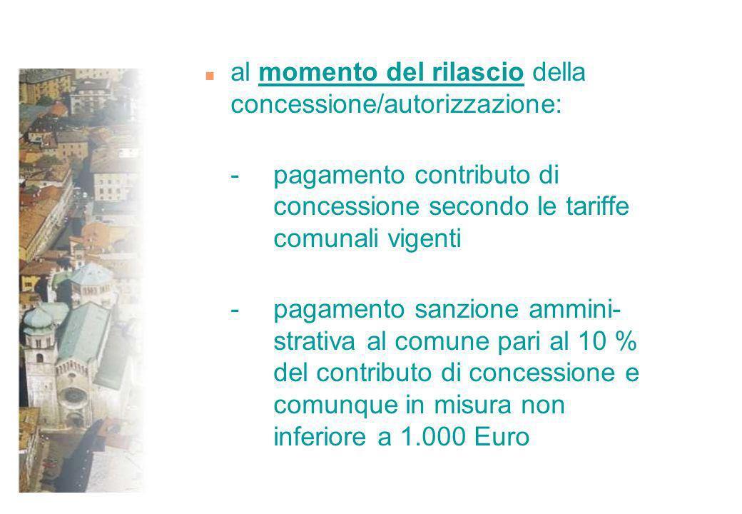 n al momento del rilascio della concessione/autorizzazione: - pagamento contributo di concessione secondo le tariffe comunali vigenti - pagamento sanz
