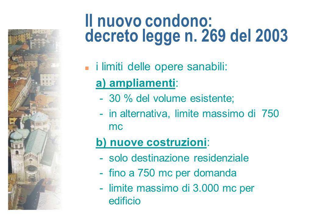 Il nuovo condono: decreto legge n. 269 del 2003 n i limiti delle opere sanabili: a) ampliamenti: - 30 % del volume esistente; - in alternativa, limite