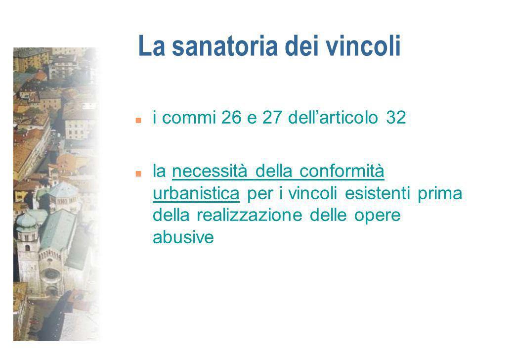 La sanatoria dei vincoli n i commi 26 e 27 dellarticolo 32 n la necessità della conformità urbanistica per i vincoli esistenti prima della realizzazio