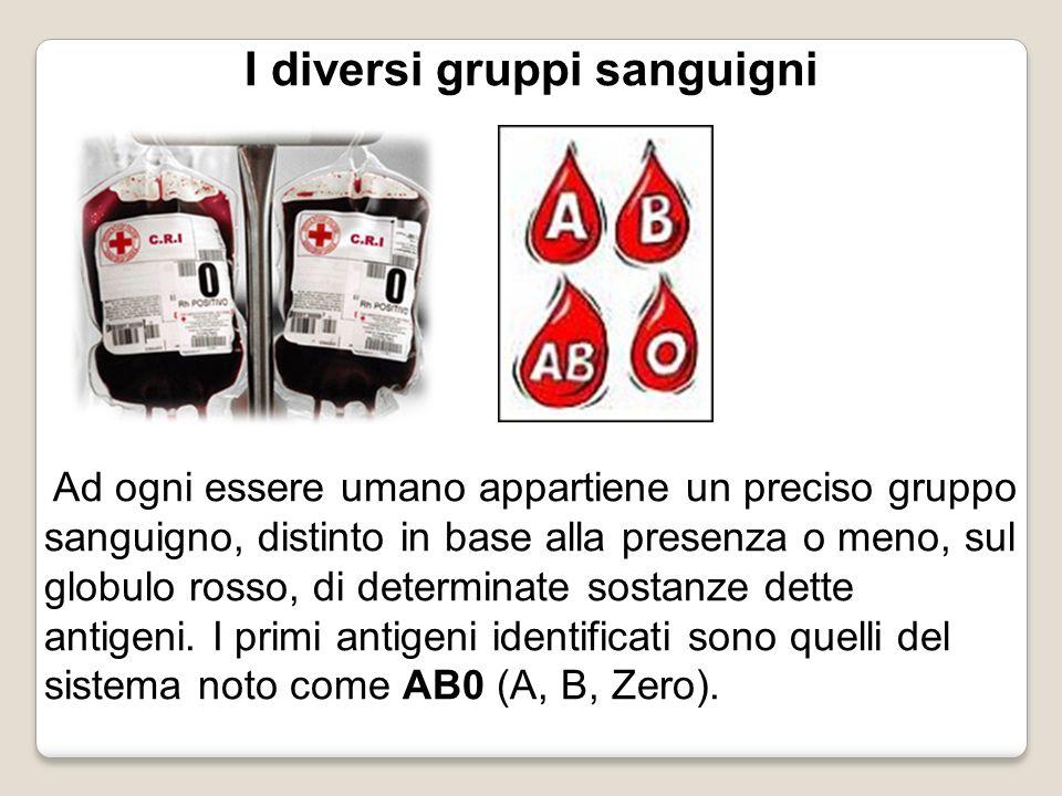 I diversi gruppi sanguigni Ad ogni essere umano appartiene un preciso gruppo sanguigno, distinto in base alla presenza o meno, sul globulo rosso, di d