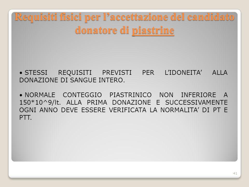 Requisiti fisici per laccettazione del candidato donatore di piastrine 41 STESSI REQUISITI PREVISTI PER LIDONEITA ALLA DONAZIONE DI SANGUE INTERO. NOR