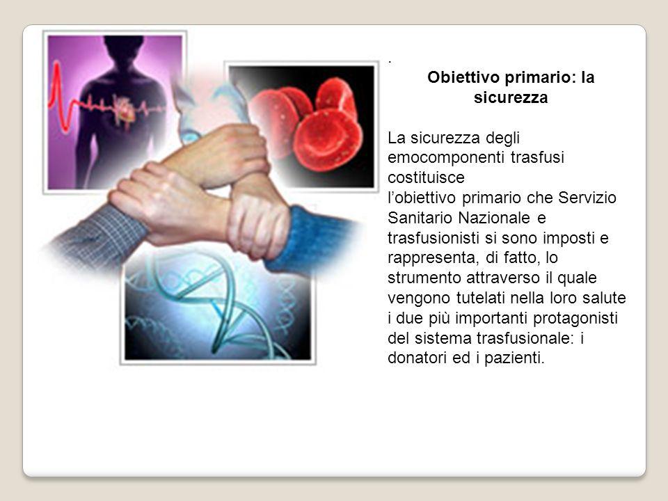 . Obiettivo primario: la sicurezza La sicurezza degli emocomponenti trasfusi costituisce lobiettivo primario che Servizio Sanitario Nazionale e trasfu