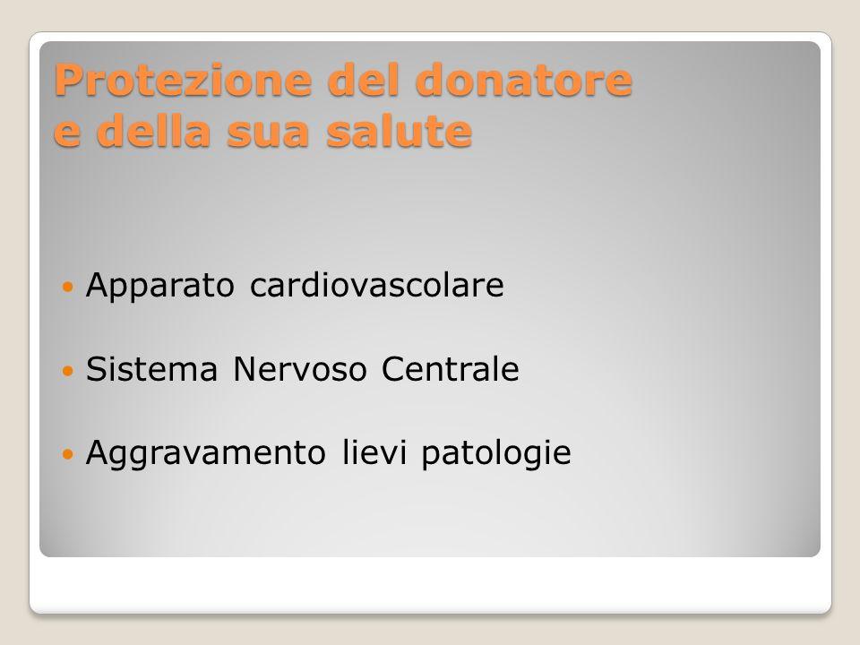 Protezione del donatore e della sua salute Apparato cardiovascolare Sistema Nervoso Centrale Aggravamento lievi patologie