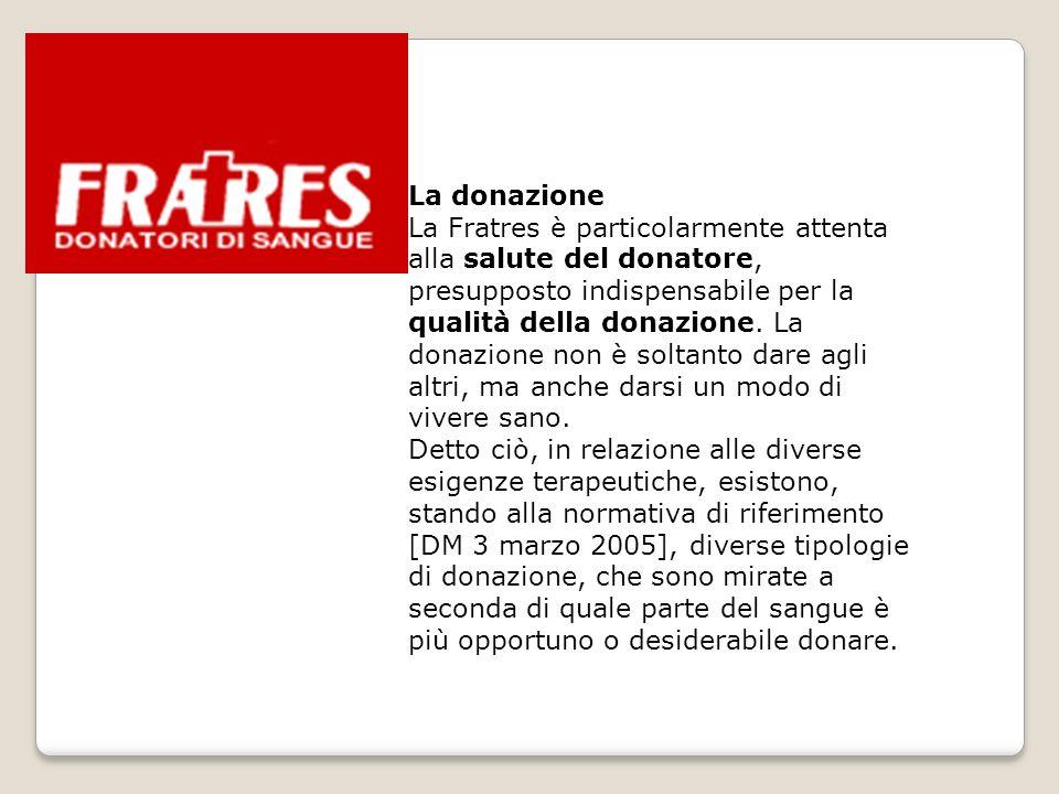 La donazione La Fratres è particolarmente attenta alla salute del donatore, presupposto indispensabile per la qualità della donazione. La donazione no