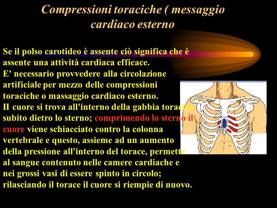 Compressioni toraciche ( messaggio cardiaco esterno Se il polso carotideo è assente ciò significa che è assente una attività cardiaca efficace. E' nec