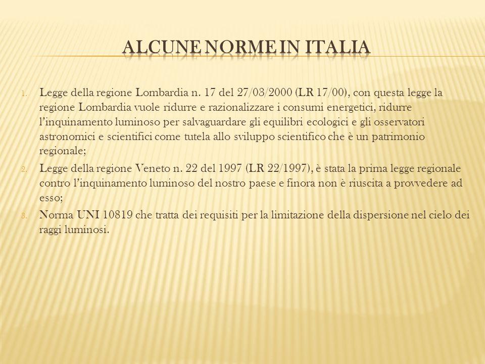 1. Legge della regione Lombardia n. 17 del 27/03/2000 (LR 17/00), con questa legge la regione Lombardia vuole ridurre e razionalizzare i consumi energ
