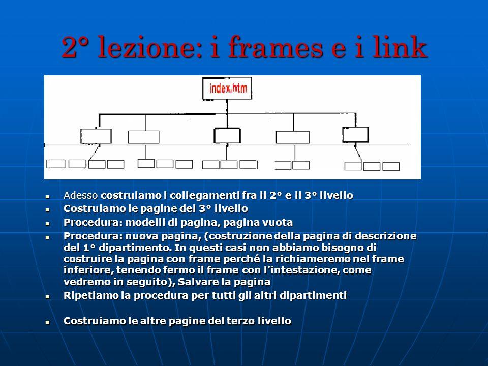 2° lezione: i frames e i link Adesso costruiamo i collegamenti fra il 2° e il 3° livello Adesso costruiamo i collegamenti fra il 2° e il 3° livello Co