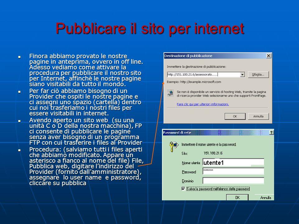 Pubblicare il sito per internet Finora abbiamo provato le nostre pagine in anteprima, ovvero in off line. Adesso vediamo come attivare la procedura pe