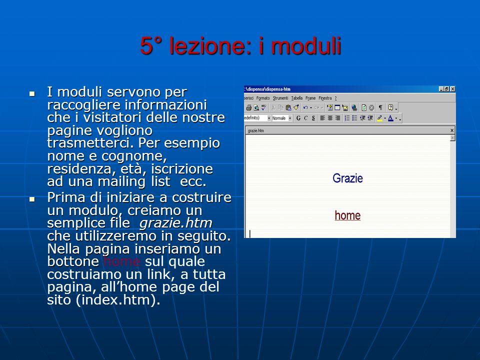 5° lezione: i moduli I moduli servono per raccogliere informazioni che i visitatori delle nostre pagine vogliono trasmetterci. Per esempio nome e cogn